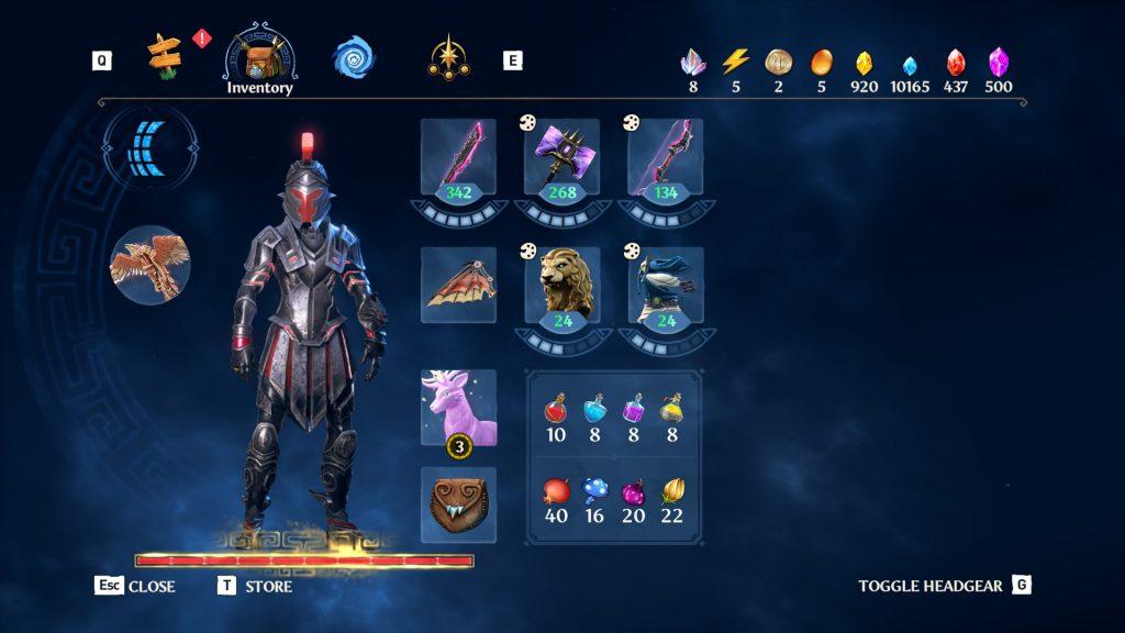 Immortals Fenyx Rising menu screen