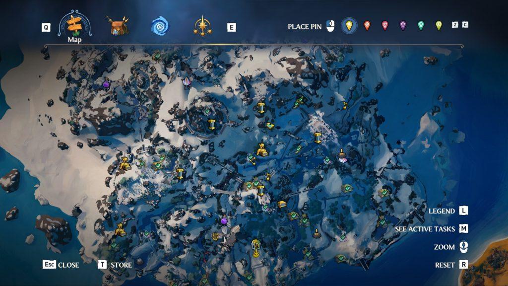 Immortals Fenyx Rising map segment with activities