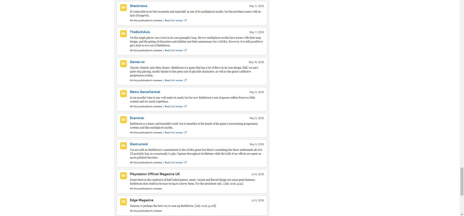 Metacritic - Battleborn