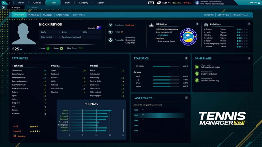 Tennis Manager 2021 Player Screen