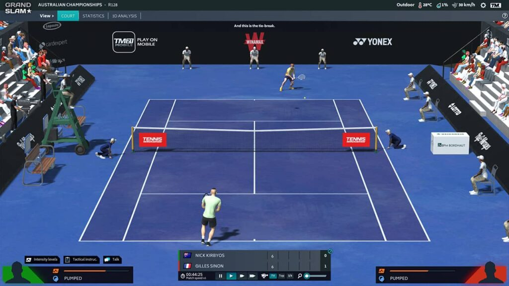 Tennis Manager 3D simulation