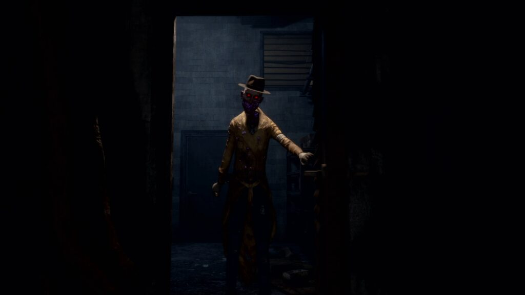 In Sound Mind In-game Screenshot with a sketchy man standing in a dark room