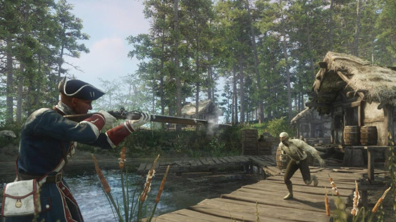 Man holding Musket and shooting Zombie in New World