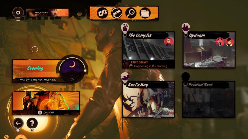 Deathloop In-game Screenshot of menu screen showcasing the four different levels