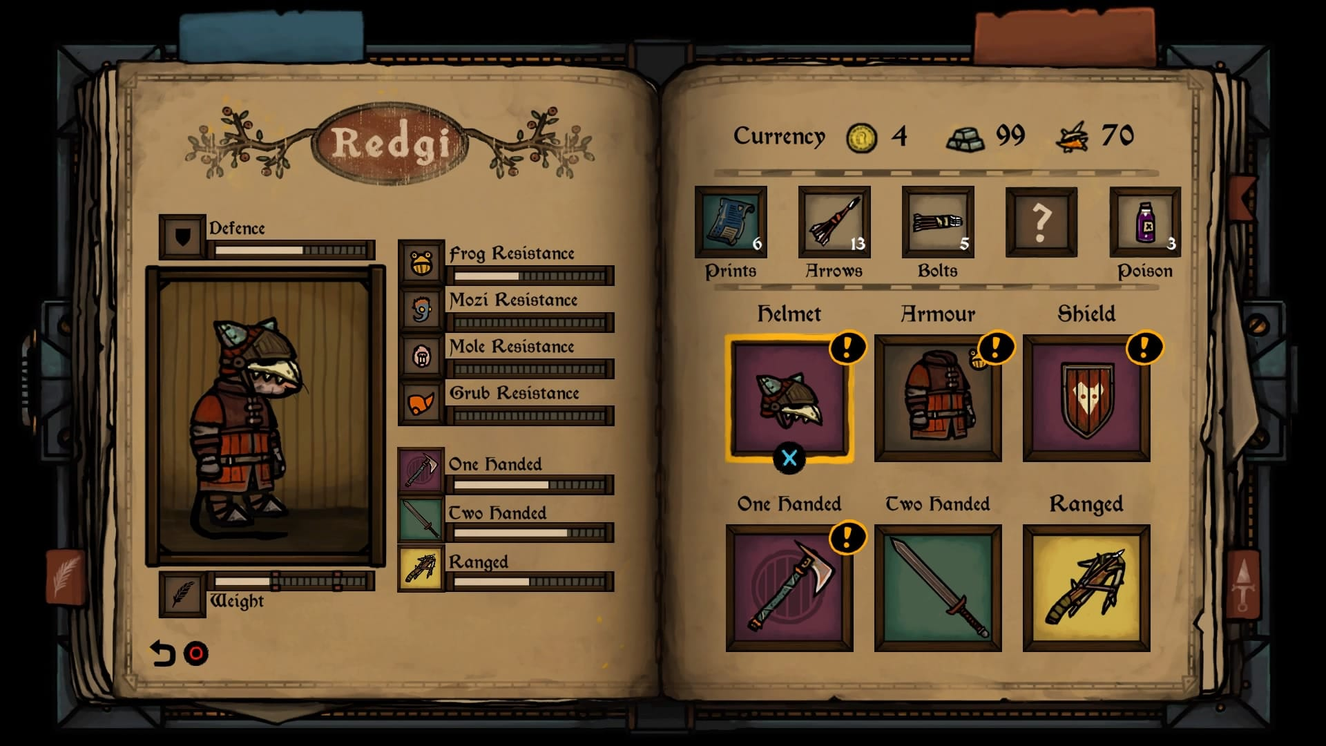 Tails of Iron - equipment menu