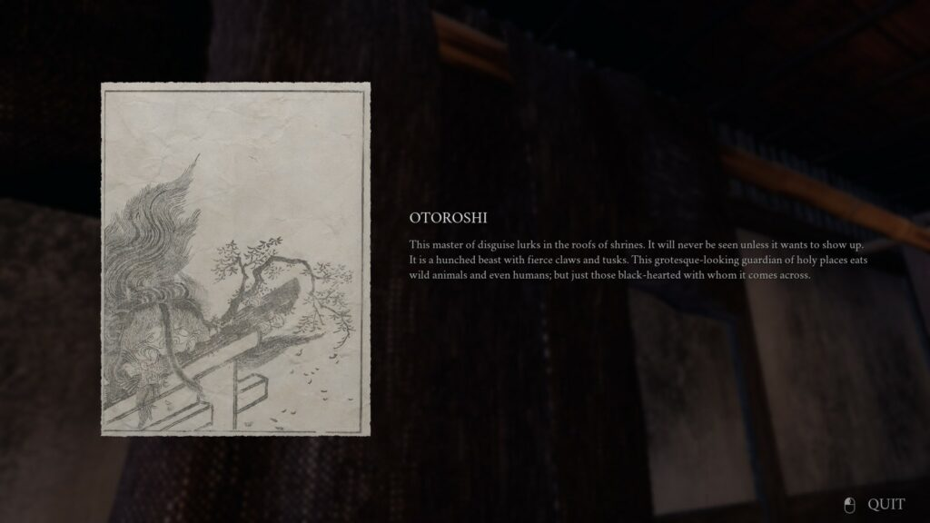 Ikai In-game Screenshot of pictures on the wall with a description of Otoroshi