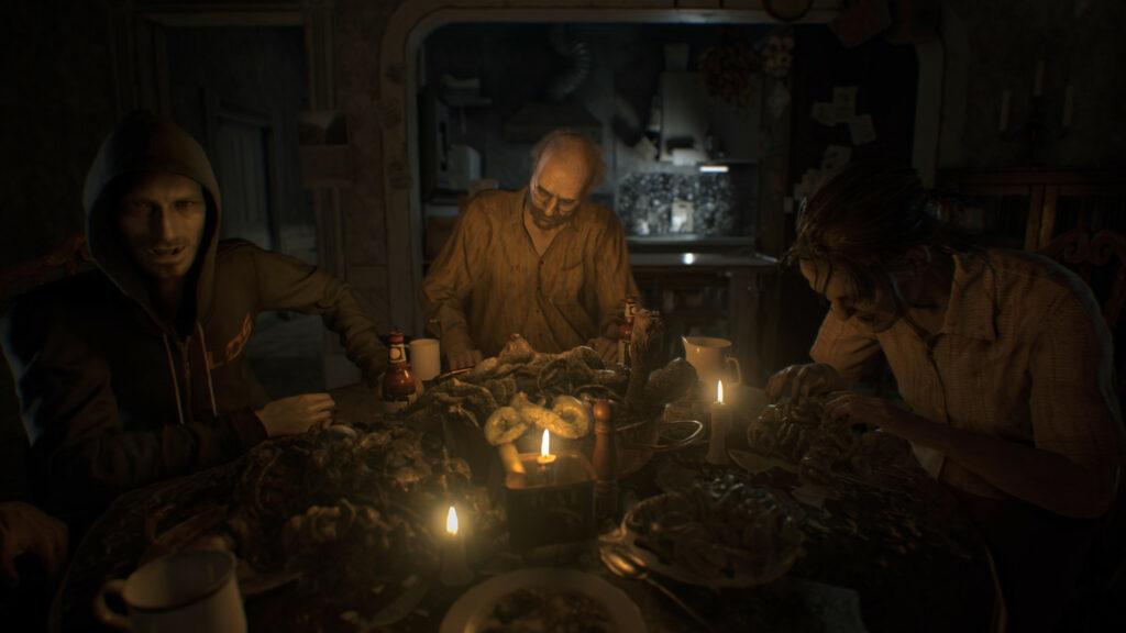 Resident Evil 7 Biohazard Eating at Dinner Table